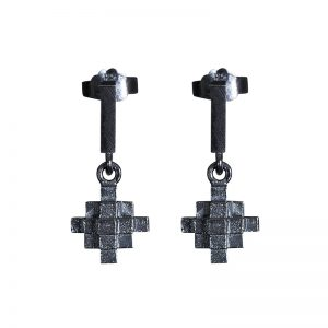 product Andes Cross earrings oxidized silver