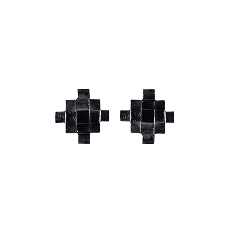 product Andes Cross stud earrings oxidized silver