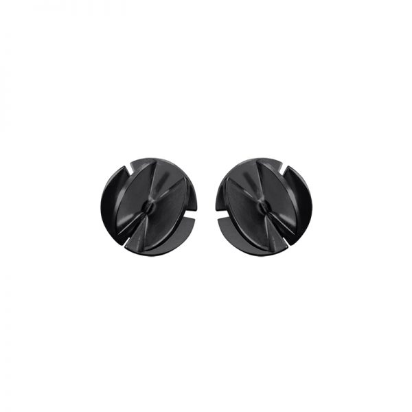 product Fan Sphere stud earrings XS oxidized silver