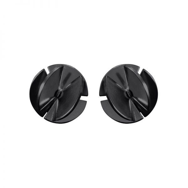 product Fan Sphere stud earrings S oxidized silver