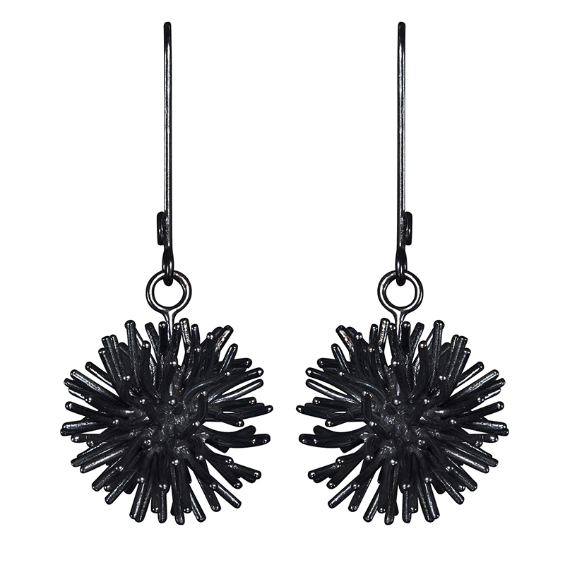 product Pompon earrings oxidized silver