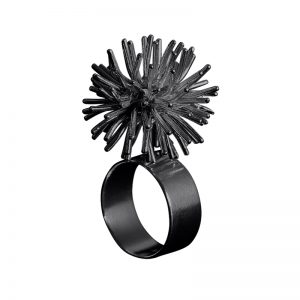 product Pompon ring oxidized silver