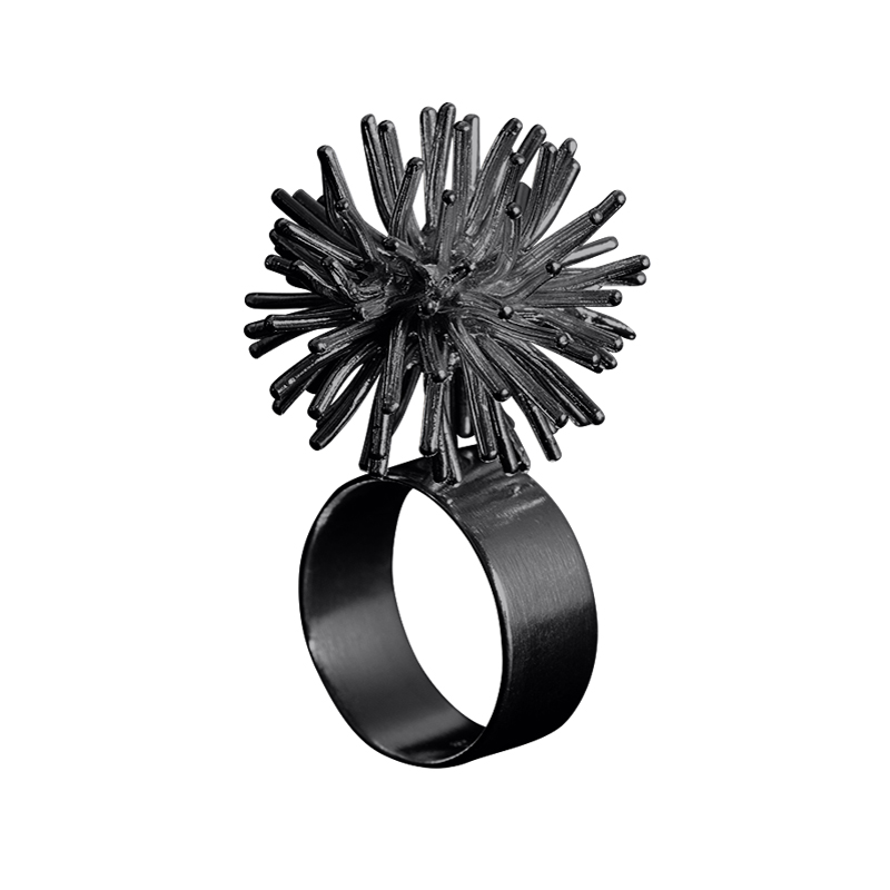 product Pompon rings oxidized silver