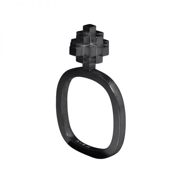 product Andes Cross ring oxidized silver
