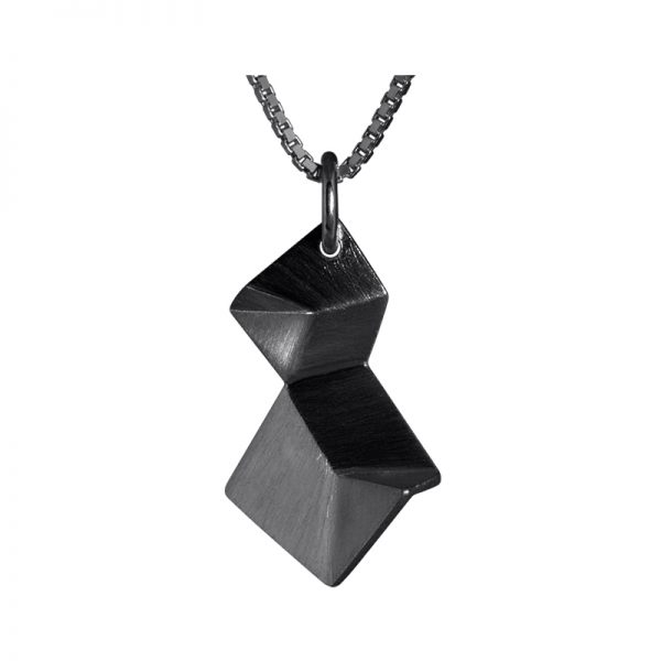 product Flake necklace double XS oxidized silver