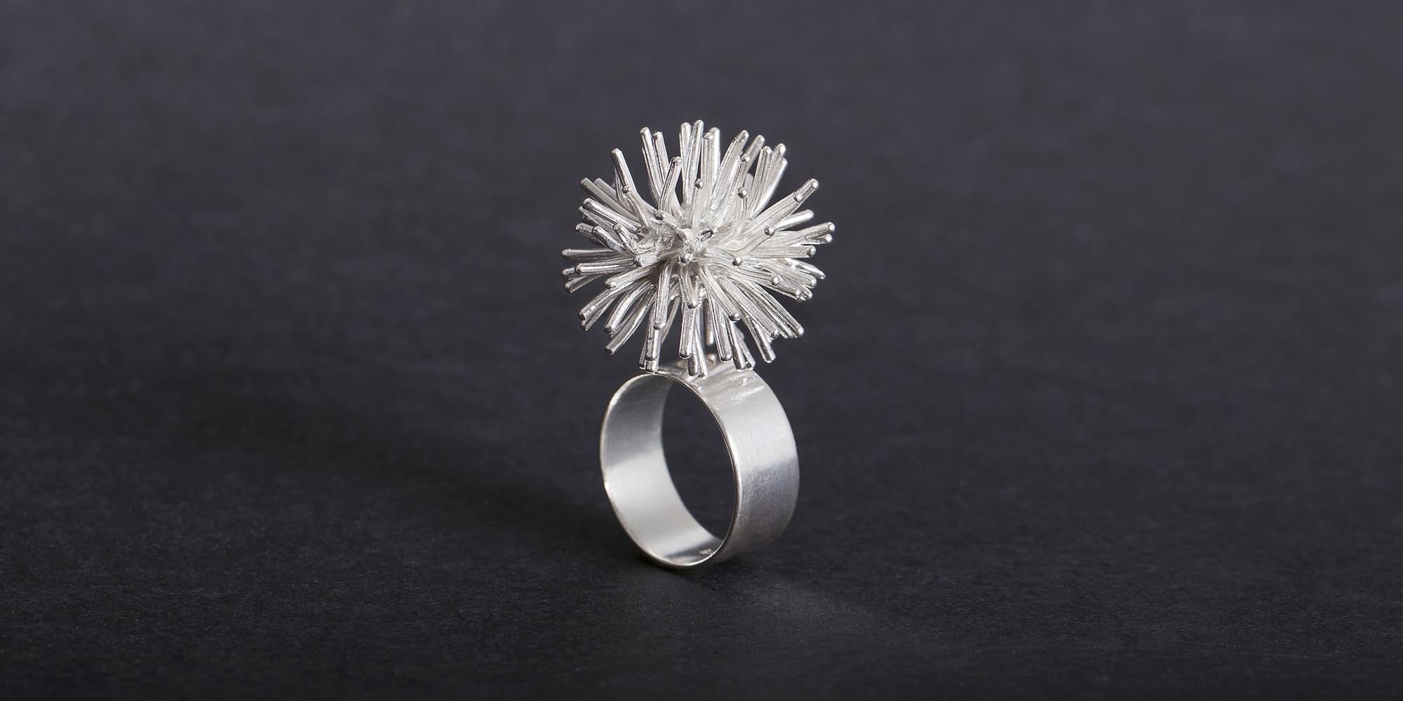 frontpage slider pompon ring silver