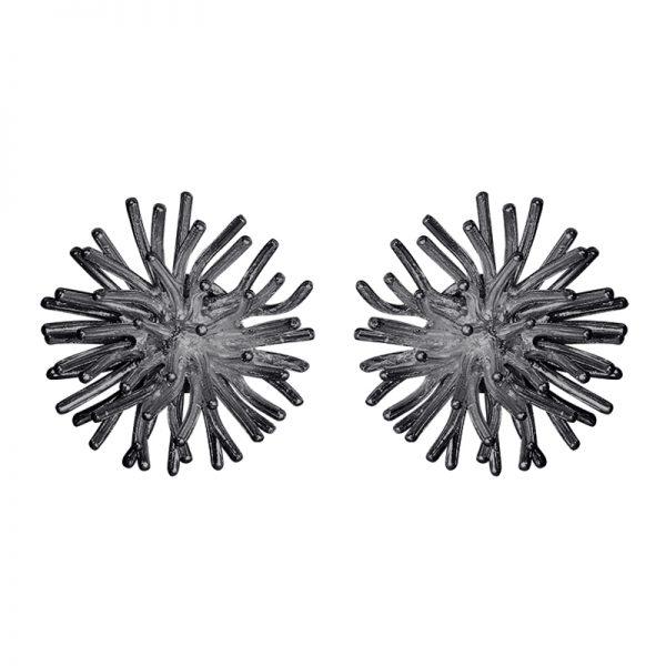 product pompon cufflinks oxidized silver