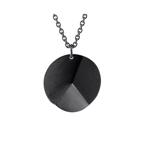 product Flake Round necklace L oxidized silver