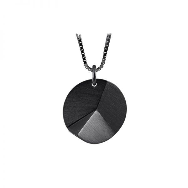 product Flake Round necklace M oxidized silver