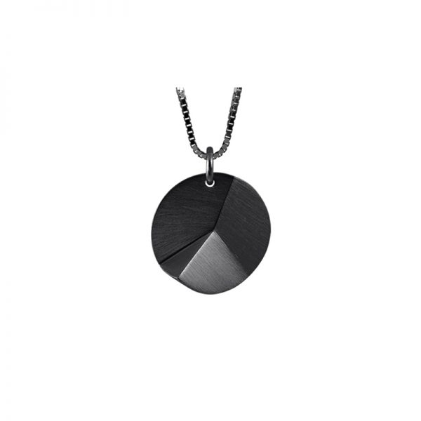 product Flake Round necklace S oxidized silver