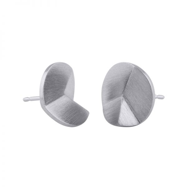 product Flake Round stud earrings M silver