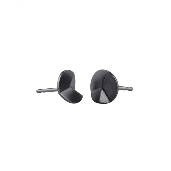 product Flake Round stud earrings XS oxidized silver