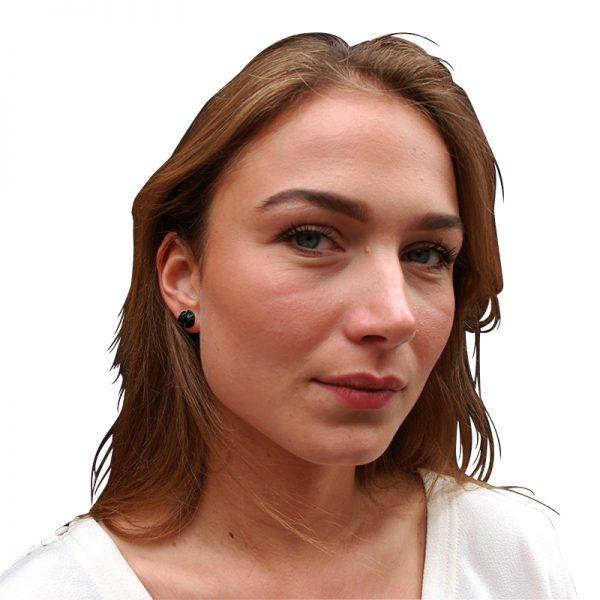 product Fan Sphere stud earrings XS oxidized silver