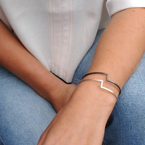 product Fold bracelet silver oxidized