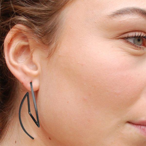 product Fold earrings oxidized silver
