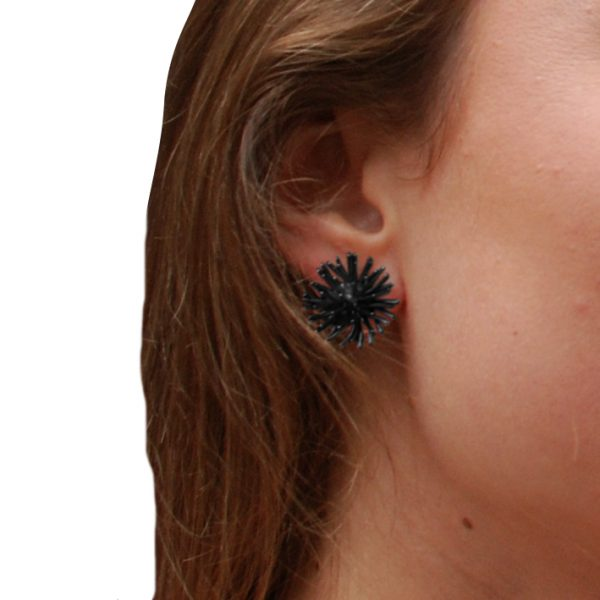 product Pompon stud earrings oxidized silver