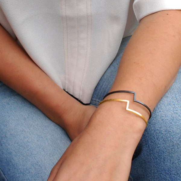 product fold bracelet gold oxidized