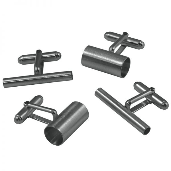 product tube cufflinks oxidized silver