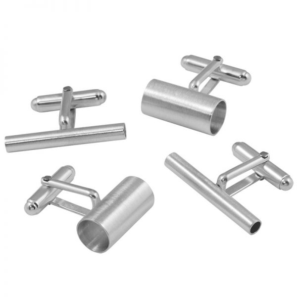 product tube cufflinks silver